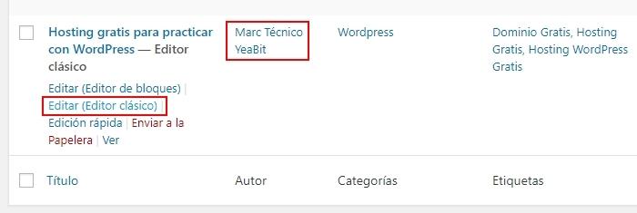 cambiar autor de las entradas wordpress español