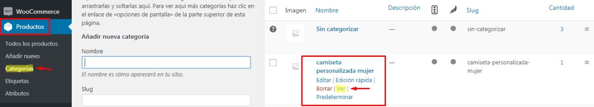Añadir URL categorias woocommerce al menu