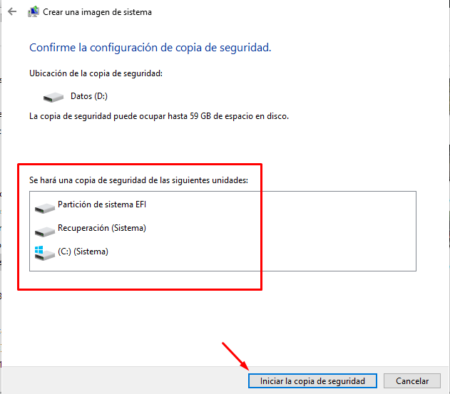 iniciar copia de seguridad en windows 10