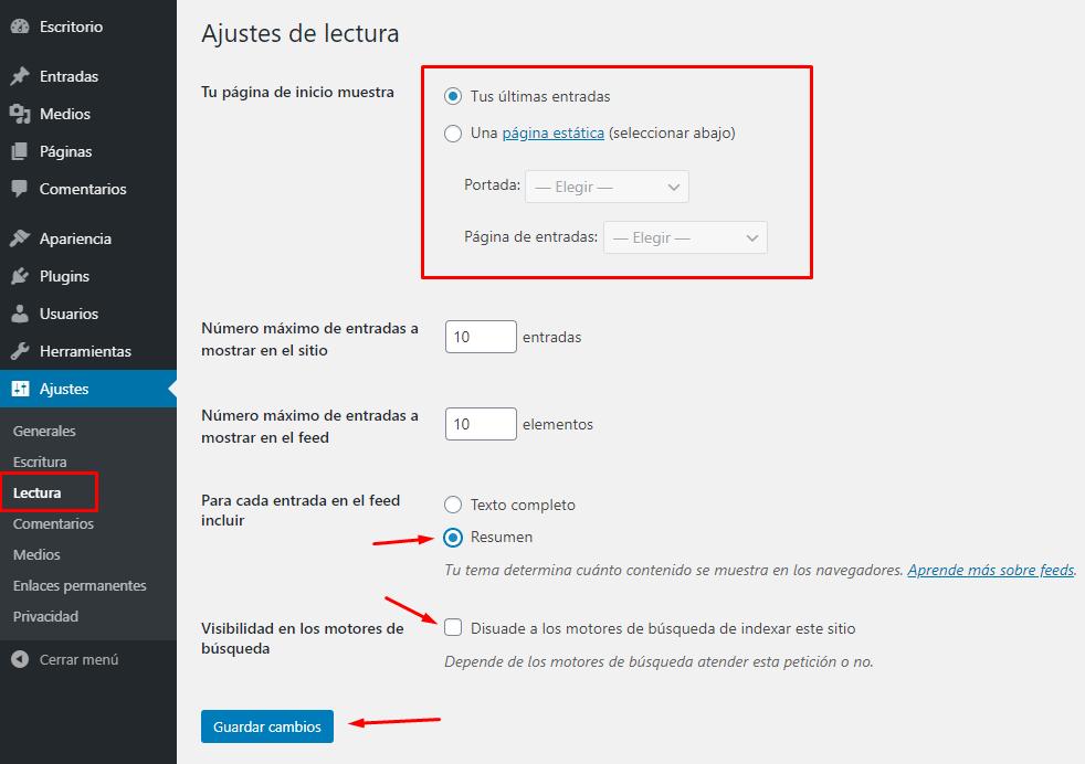 ajustes de lectura WordPress
