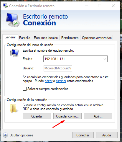 crear acceso directo escritorio remoto windows 10
