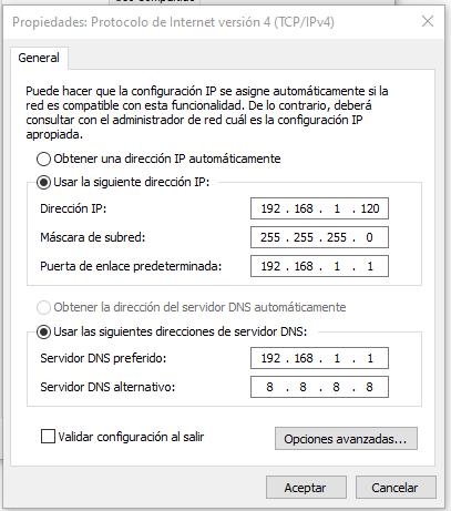direccion ip manual en windows 10