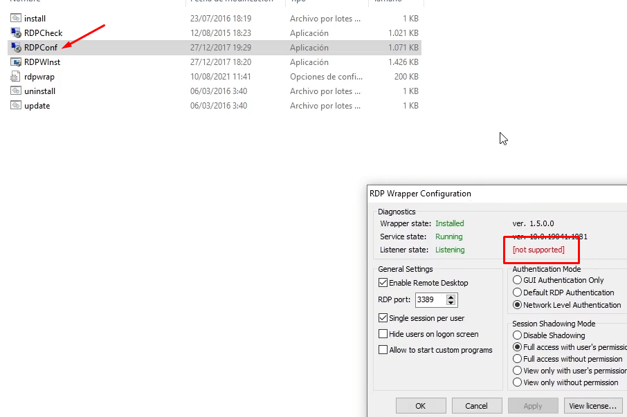 not suported rdp windows 10