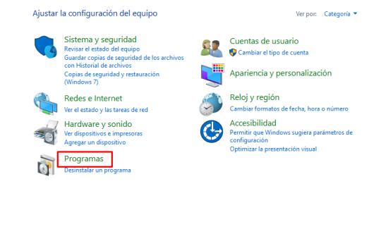 programas panel de control windows