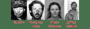 Fotos von Ed Gein, Henry Lee Lucas, Aileen Wuornos und Jeffrey Dahmer