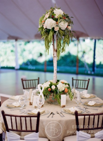 Romantic watercolor tablescape with table number, menu, and favor box at Big Fake Wedding New England 2016
