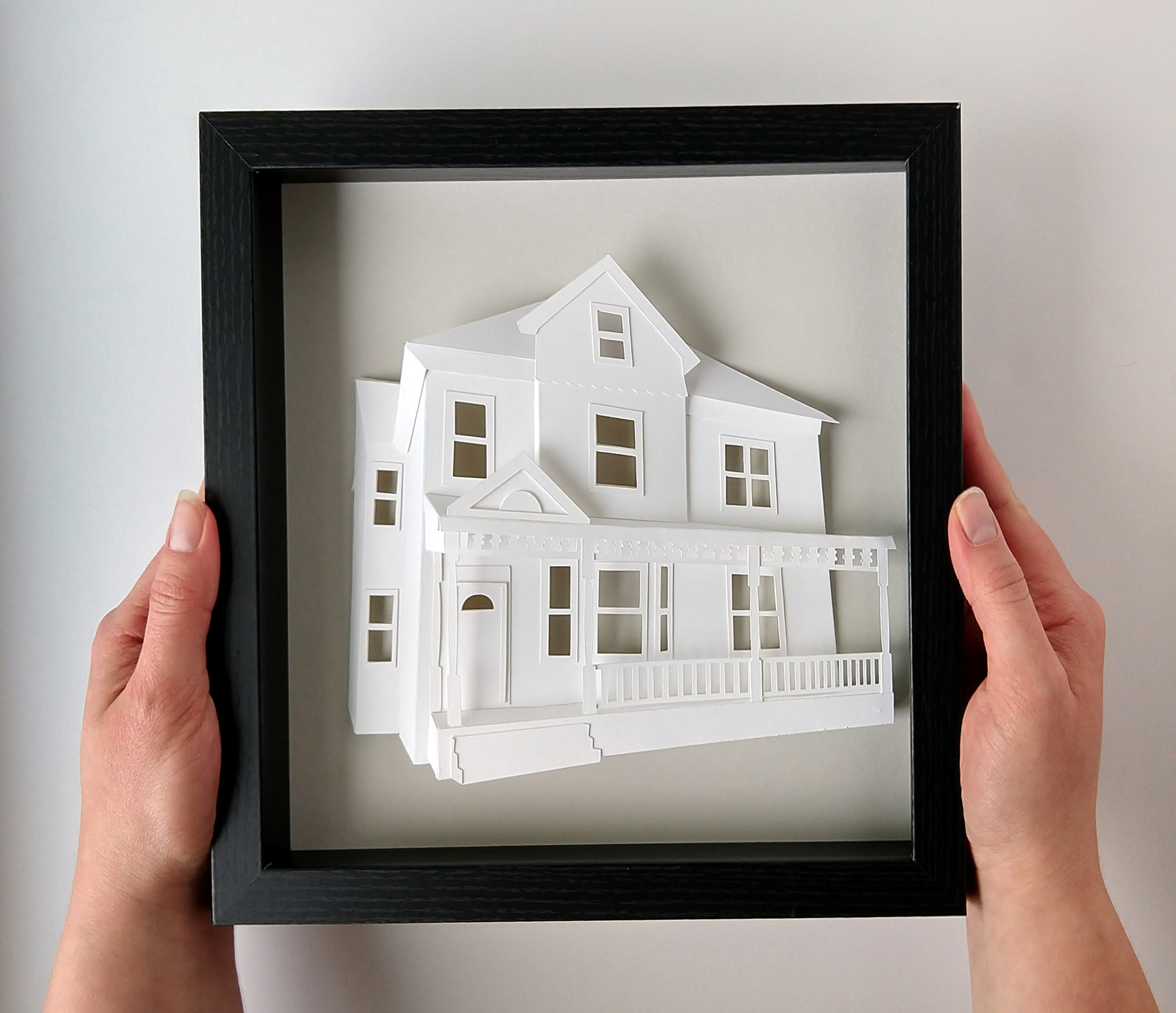 Custom House Portrait, framed, held by hands