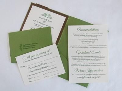 Copper & Green Autumn Wedding Invitation - Inserts