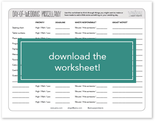 Download the day-of-wedding planning worksheet