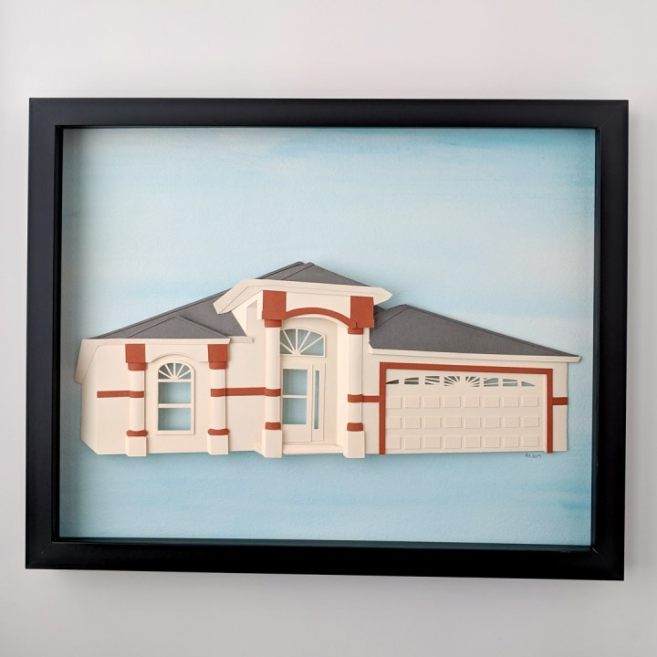Finished custom house portrait, multi-color stucco home on blue watercolor background