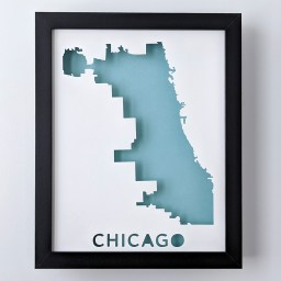 Framed map of Chicago, IL