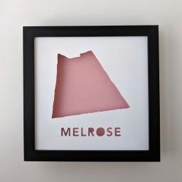Cut paper map of Melrose, MA