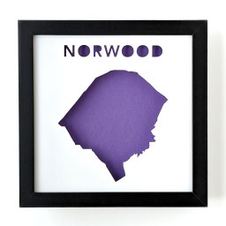 Framed map of Norwood, MA with a purple background