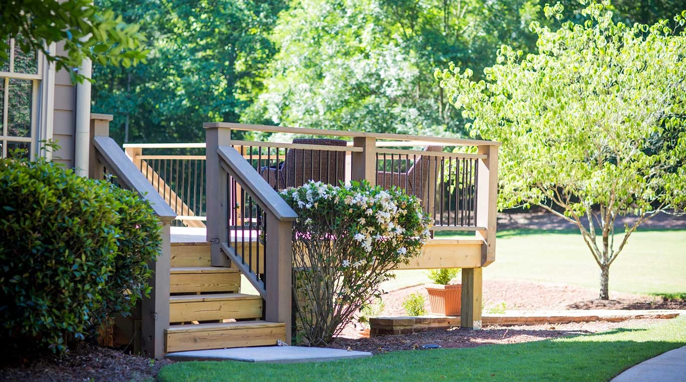 Pressure Treated Step Treads Yellawood   Pressure Treated Wood Stairs   L Shaped   Exterior   Timber   45 Degree Stringer   8 Foot