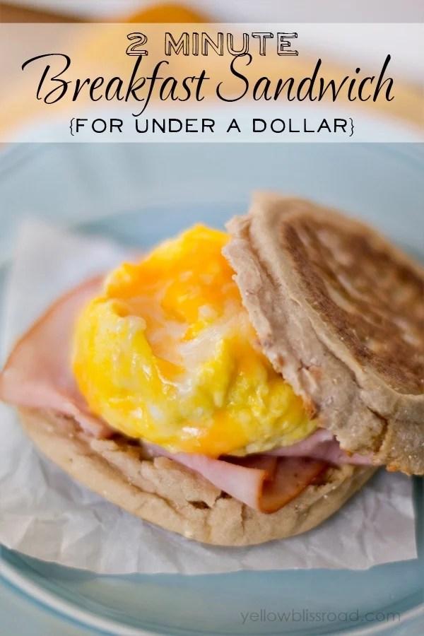 scrambled egg in a mug and a 2 minute breakfast sandwich