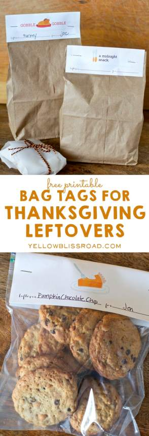 Bag Tags for Thanksgiving Leftovers