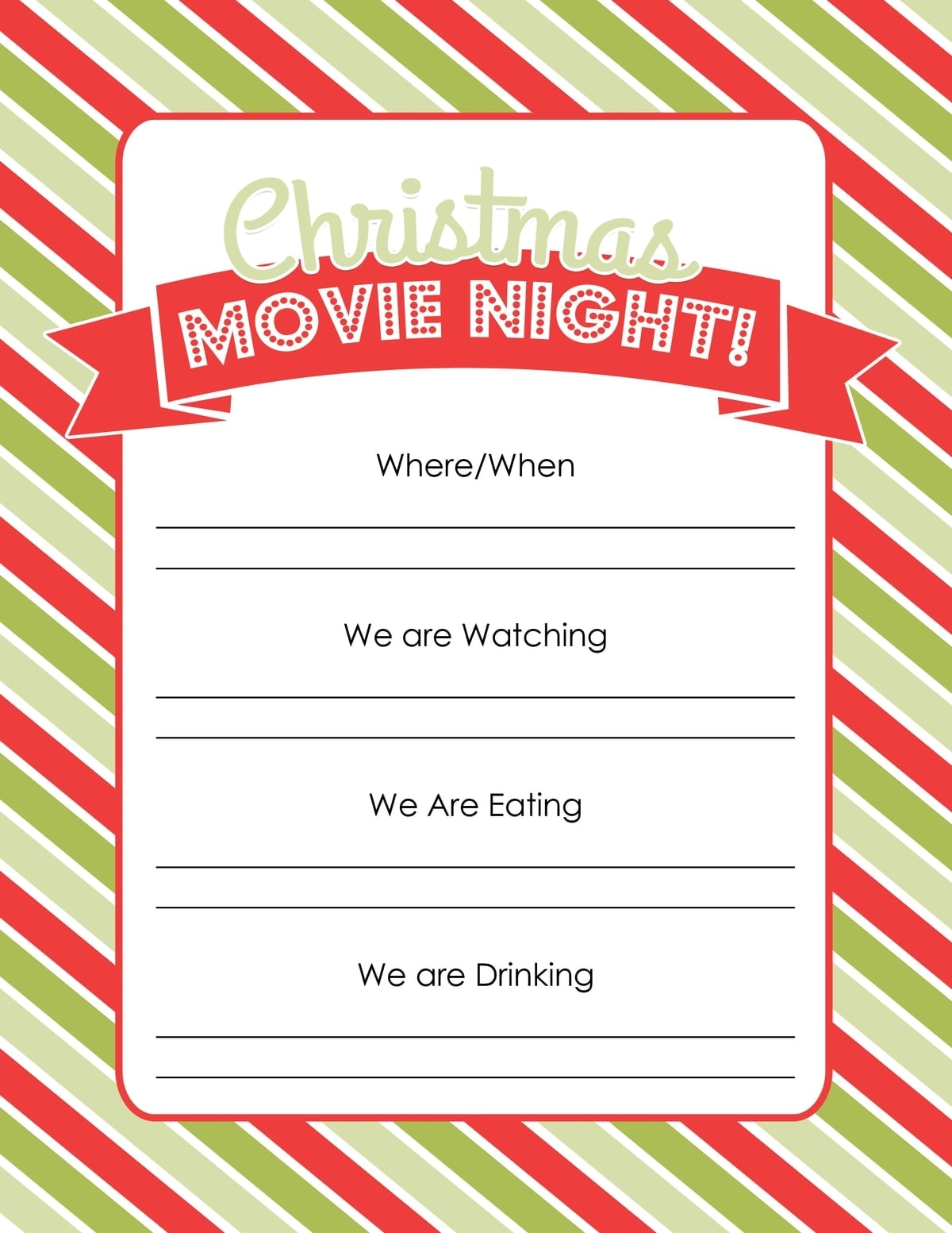 Holiday Traditions Christmas Movie Night Free Printable