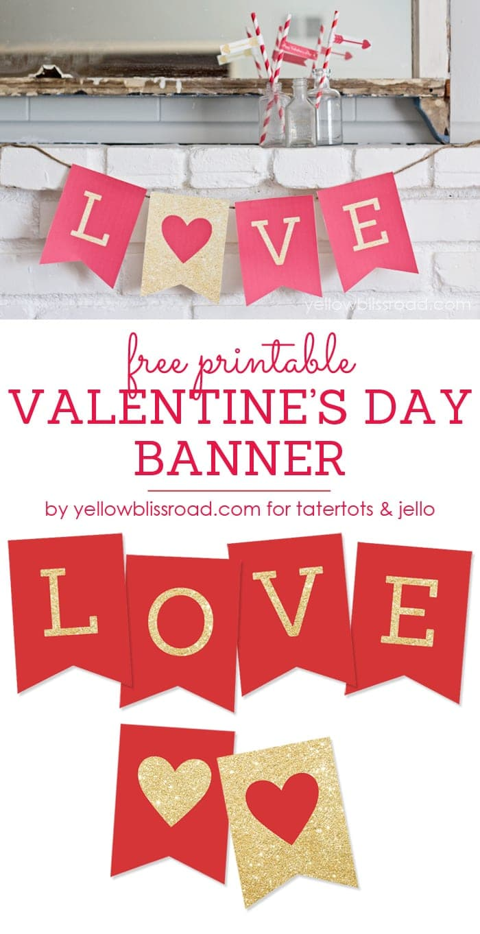 image about Valentine Banner Printable titled Cost-free Printable Delight in Valentines Working day Glitter Banner