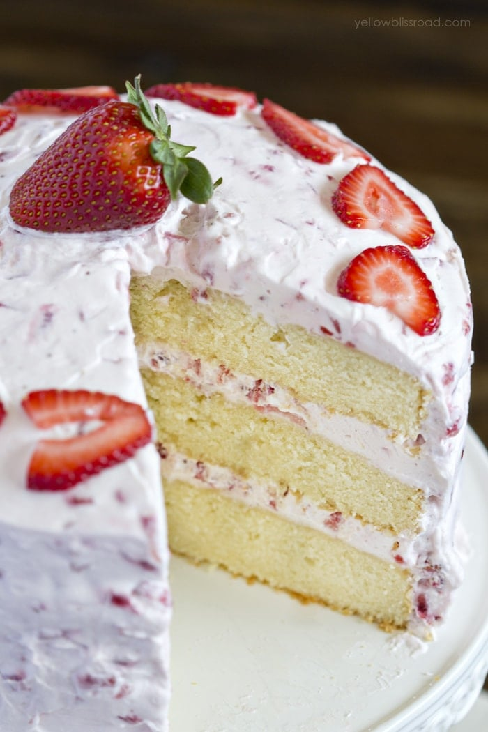 Fresh Strawberry Cake Recipe With Strawberry Whipped Cream