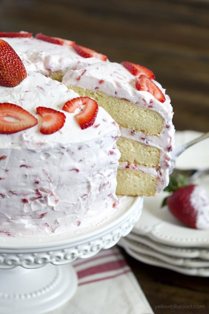 Yellow Cake With Strawberry Filling