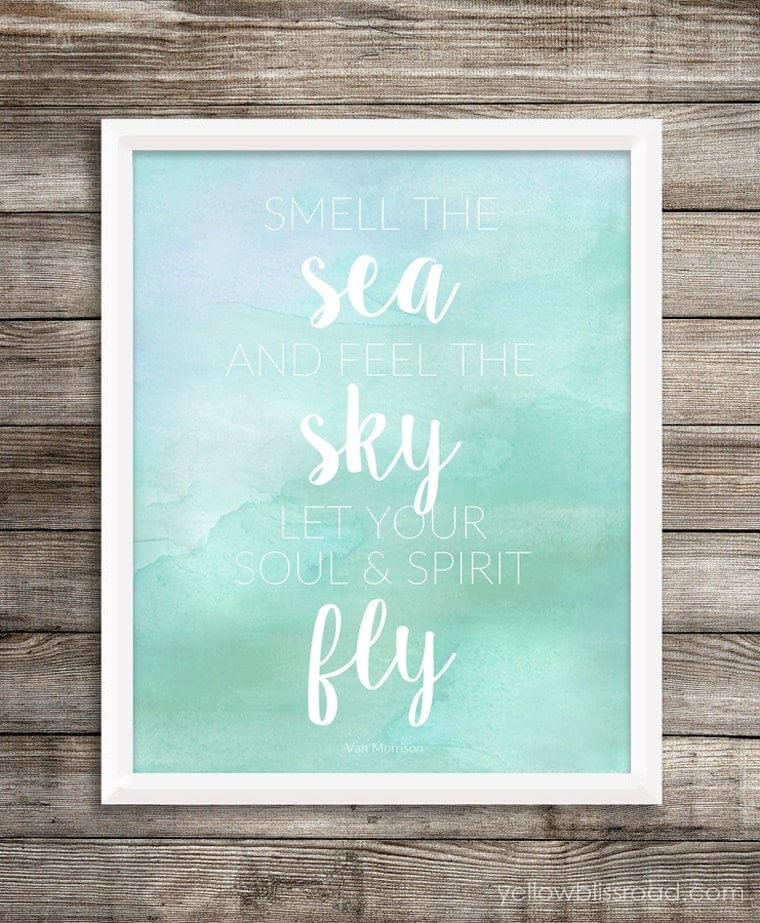 Beach printable watercolor background