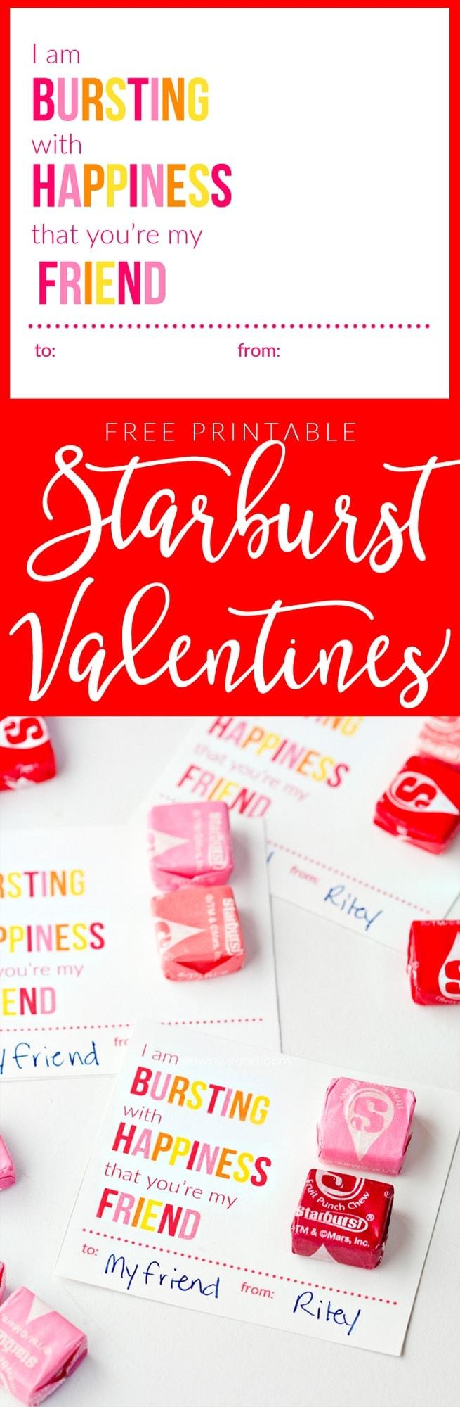 Printable Starburst Valentine Cards Yellow Bliss Road