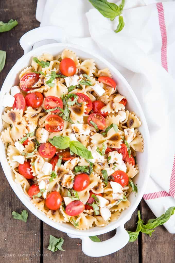 Easy Caprese Pasta Salad With Balsamic Vinaigrette