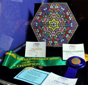 Display of a piece of Noelene's bobbin lace and its awards