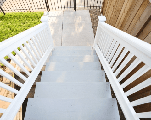 It Only Took Us A Year Painting The Exterior Stairs Yellow | Wood And Painted Stairs | Diy | Before And After | Striped | Refinish | Oak