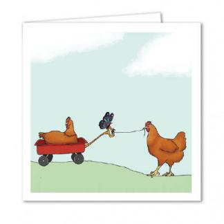 Chickens playing in a cart