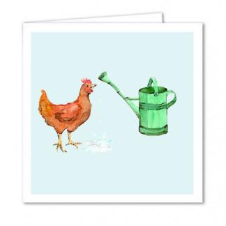 Watering Can Chicken Card