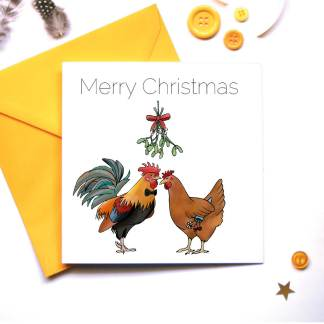 Rooster and Hen Under the Mistletoe