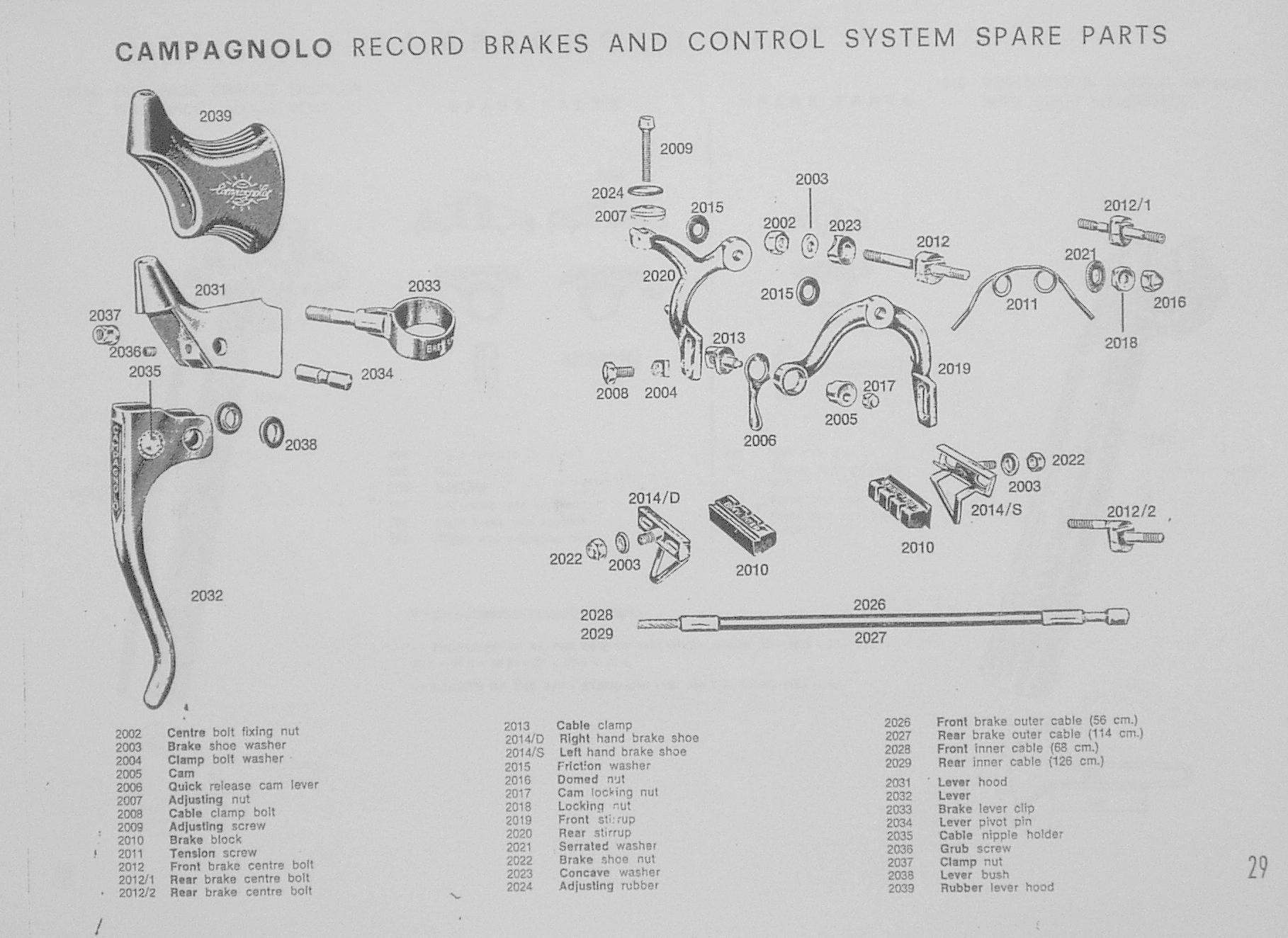 Campagnolo Original Brake Service Spares At Yellow Jersey
