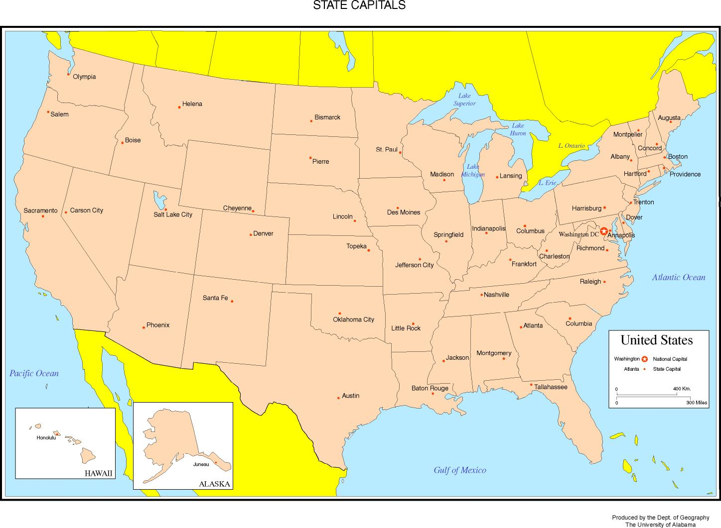 Us Map Of States With Names And Capitals