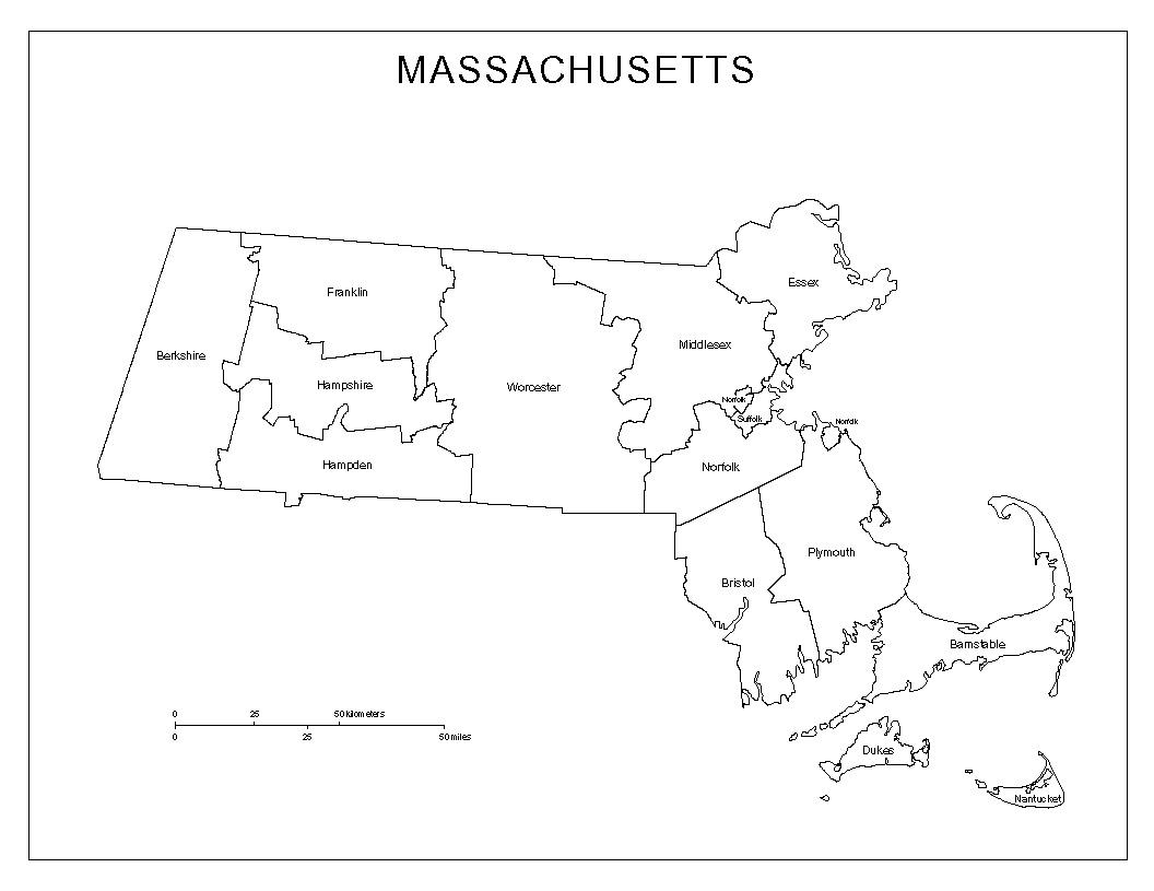 Massachusetts Labeled Map
