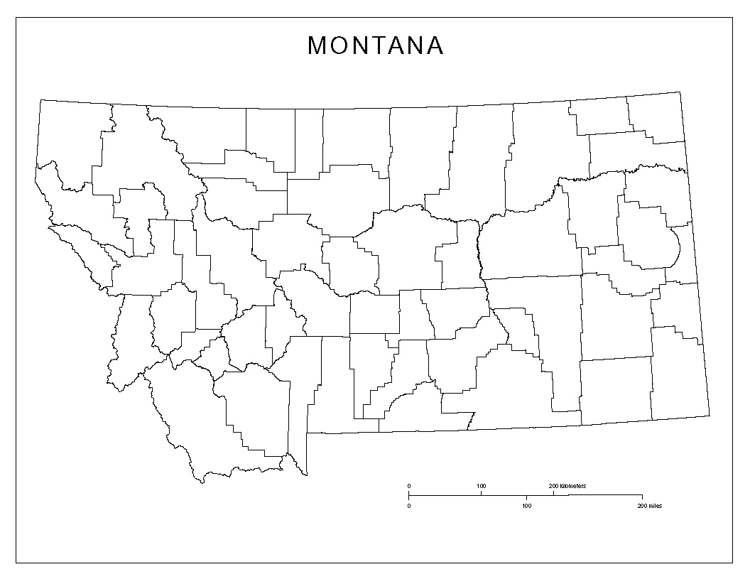 Montana Map Coloring Page Montana Blank Map