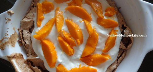 Chocolate pavlova with mangoes