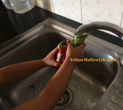 Dragon fruit tasting preparation