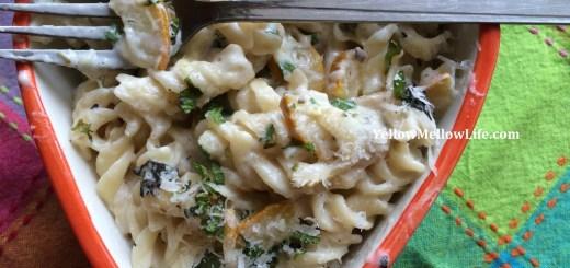 One Pot Creamy Zucchini Mushroom Pasta