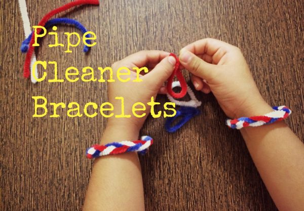 Pipe Cleaner Bracelet for Fourth of July Craft