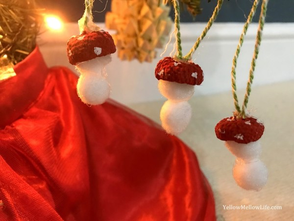 Acorn Cap Toadstool Christmas Ornaments