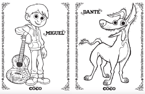 Disney Pixar's Coco free colouring pages printables
