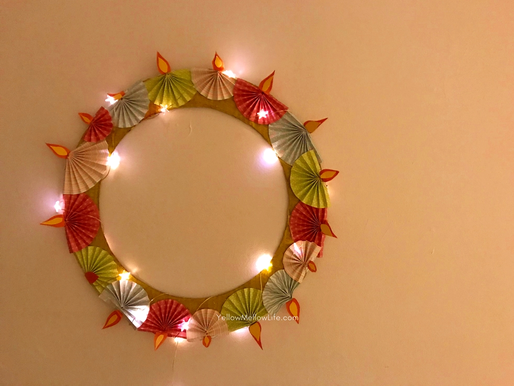 Twinkling And Awesome Last Minute Diwali Diya Wreath Craft Yellow