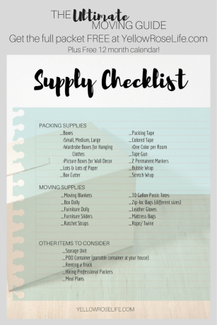 Packing Supply Checklist For Moving | FREE Ultimate Moving Guide at YellowRoseLife.com | Includes 12 month calendar | Stay Organized during your move >> Moving guide includes timeline, supply list, change of address, and much more!