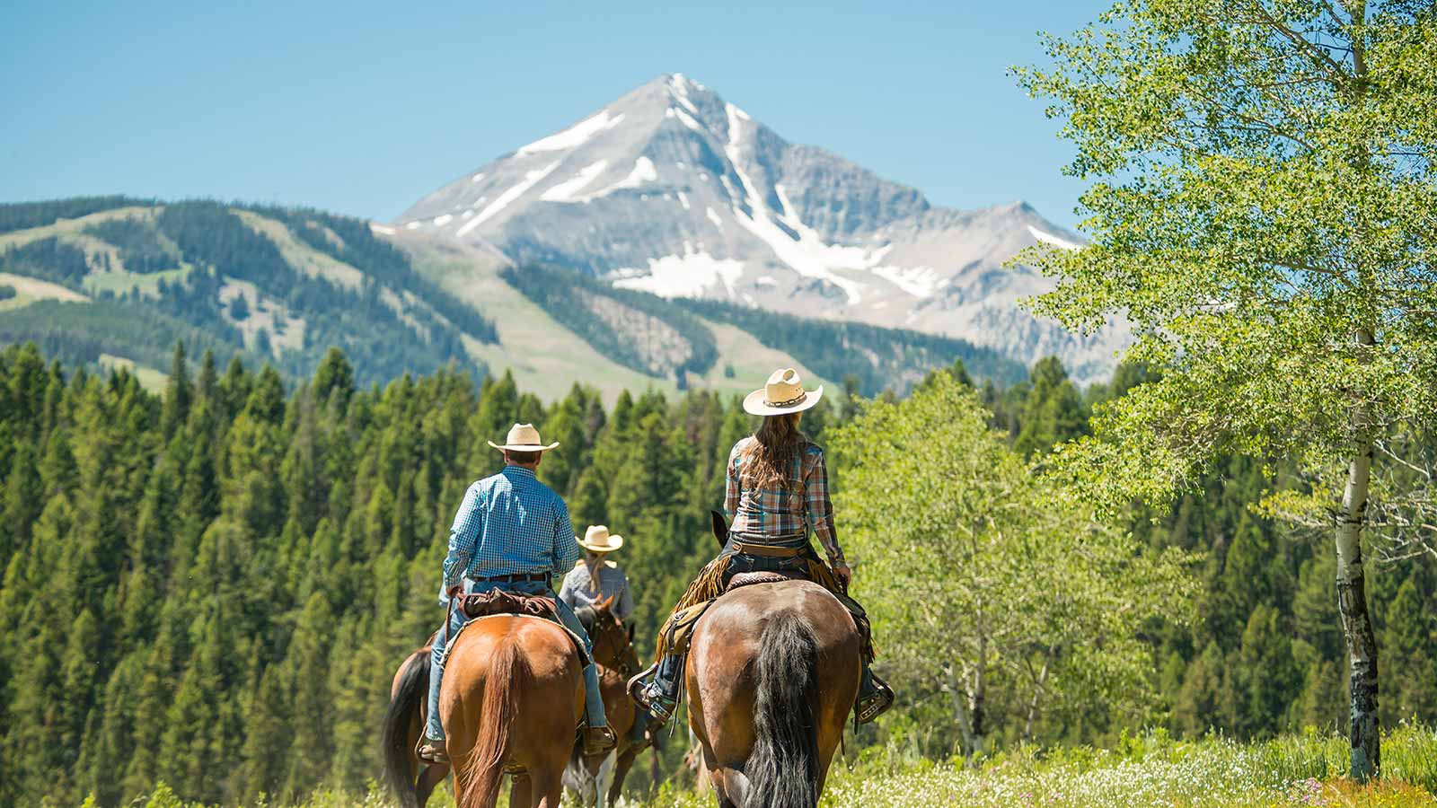 Views include lone mountain and the surrounding gallatin forest. Lone Mountain Ranch Horseback Ride With A View Of Lone Peak In Big Sky Yellowstone National Park