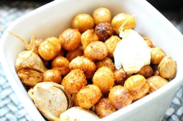 Homemade Garlic Roasted crunchy healthy Chickpeas