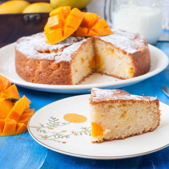 Summertime Fresh Mango Cake- Eggless
