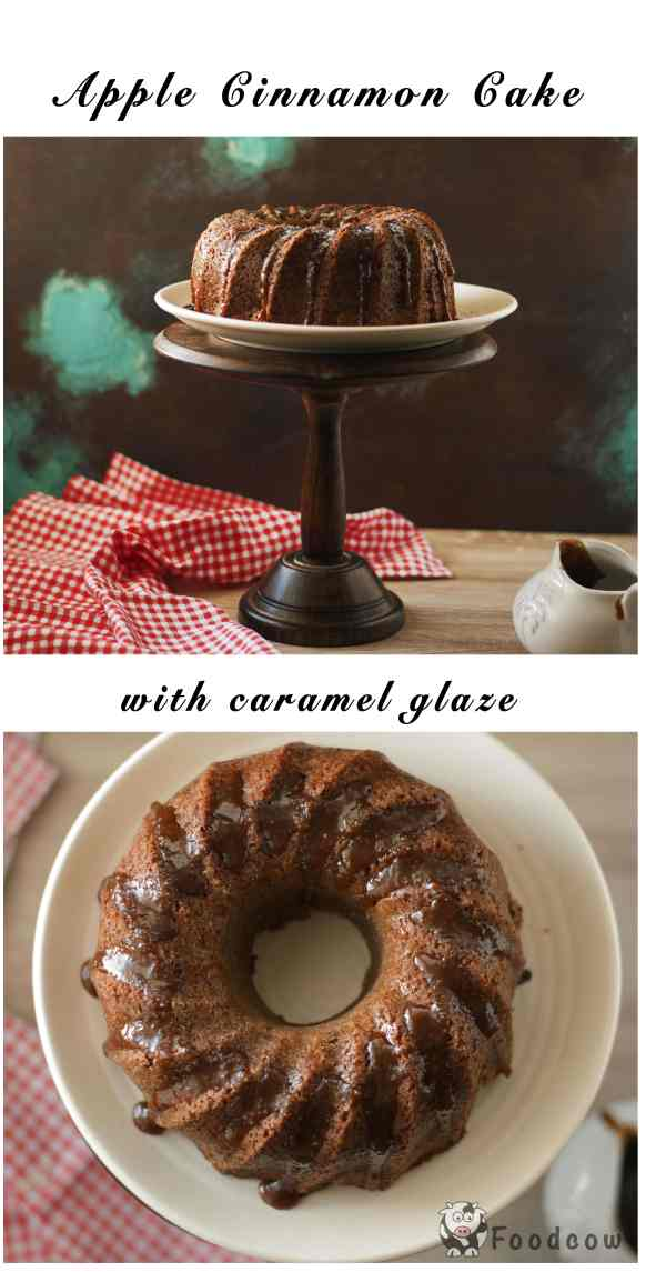Warm Apple Cinnamon Cake with Lemon Caramel Glaze
