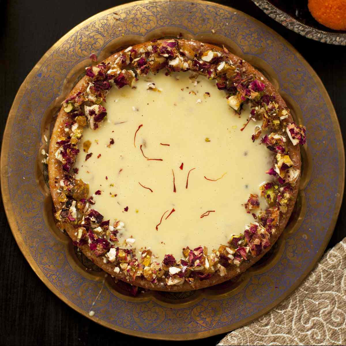 Saffron Cardamom Milk Cake with White Chocolate Ganache