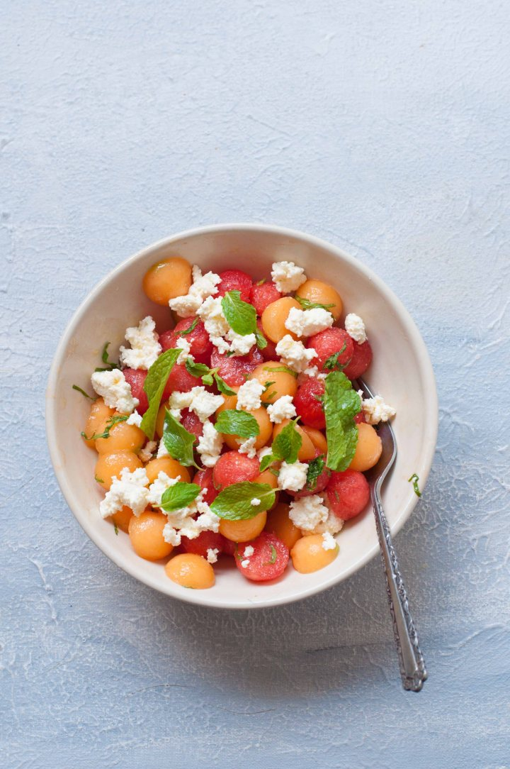 Watermelon and MuskMelon Salad with Ricotta Cheese